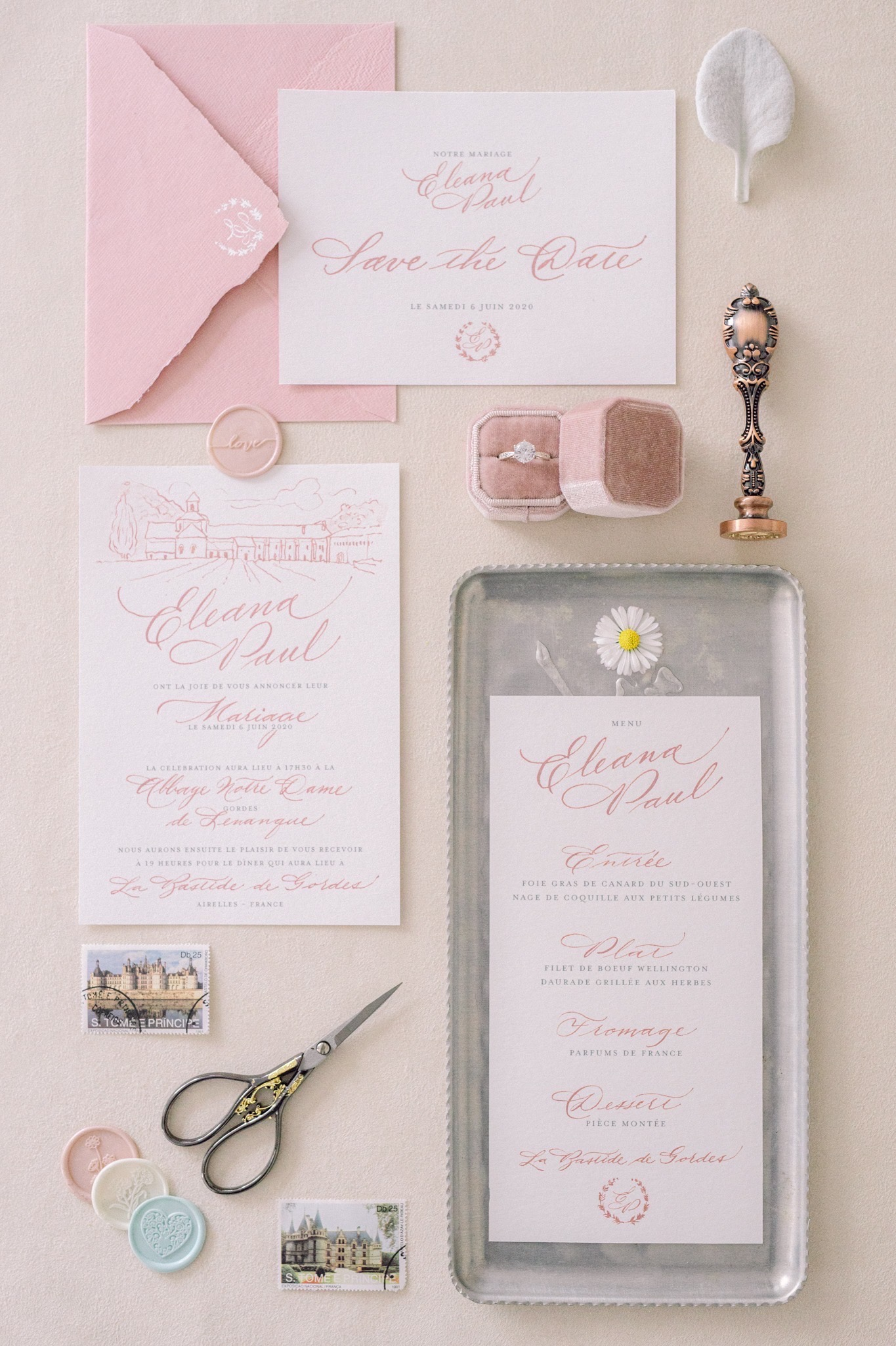 Pastel wedding invitations 5